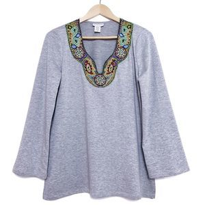 Soft Surroundings Jersey knit beaded neck top